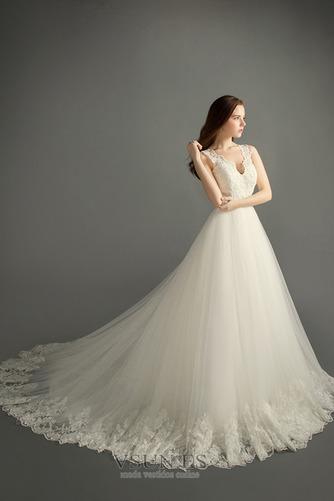 Vestido de novia Satén Apliques Natural Iglesia Cremallera Formal - Página 1