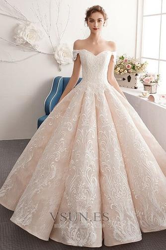 Vestido de novia Natural Corte-A Escote con Hombros caídos Pera Capa de encaje - Página 1