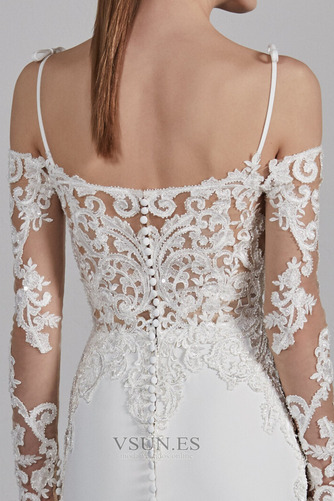 Vestido de novia Sencillo Encaje Espalda Descubierta Capa de encaje - Página 4