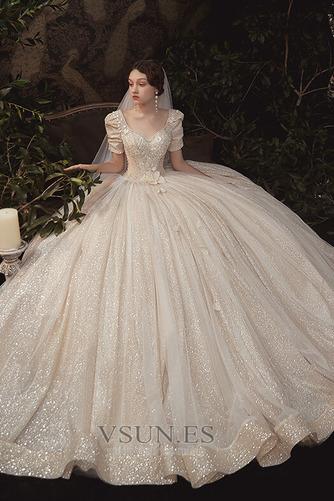 Vestido de novia Corpiño Acentuado con Perla Cordón Abalorio Camiseta - Página 3