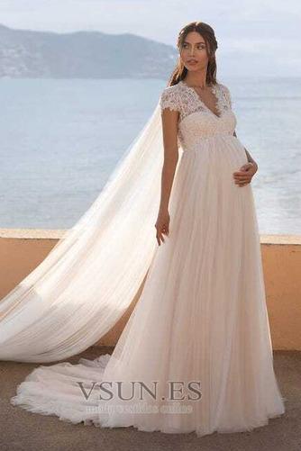 Vestido de novia Embarazadas Elegante Manga tapada largo Manga corta - Página 5