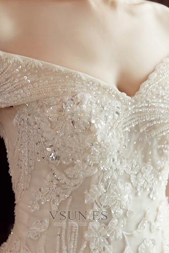 Vestido de novia Corpiño Acentuado con Perla Manga corta Triángulo Invertido - Página 5