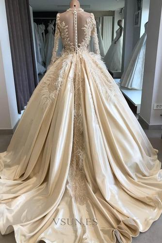 Vestido de novia Pura espalda Mangas Illusion Pera Escote con cuello Alto - Página 2
