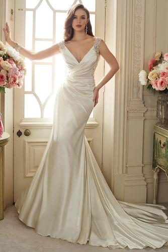 Vestido de novia primavera Escote en V Sala Dobladillos Cremallera Satén Elástico - Página 1