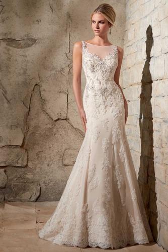 Vestido de novia Natural Cola Capilla Sin mangas Fuera de casa Otoño - Página 1