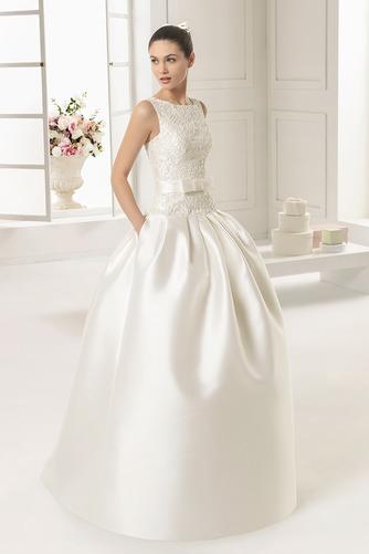 Vestido de novia Satén Cremallera Modesto Cola Panel Sin mangas Bolsillos - Página 1