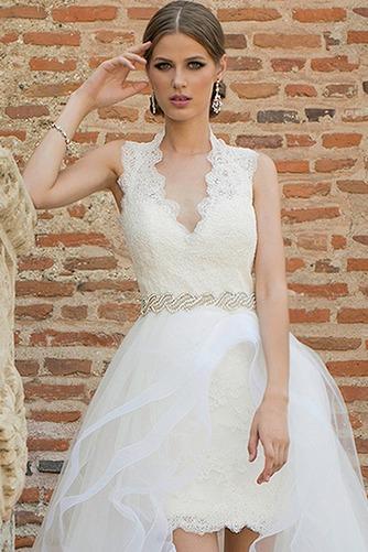 Vestido de novia Cremallera Corte-A Natural Apertura Frontal Cinturón de cuentas - Página 1