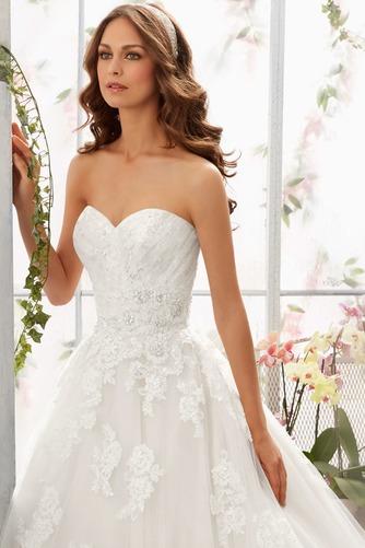 Vestido de novia Encaje Corte-A Sin mangas Natural primavera largo - Página 3