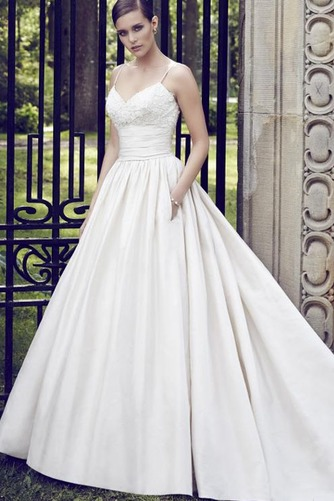 Vestido de novia Sin mangas Satén Cola Capilla Natural Otoño Bolsillos - Página 1