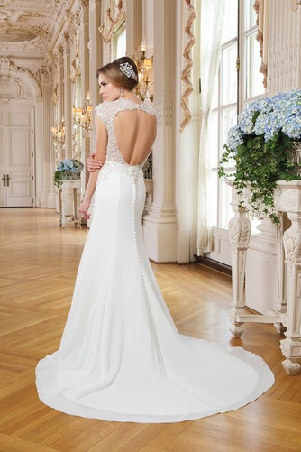 Vestido de novia Corte Sirena Abalorio Queen Anne Cremallera Gasa Elegante - Página 2