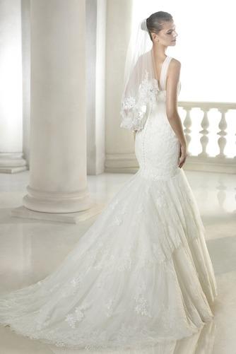 Vestido de novia Barco largo Natural Otoño Encaje Sin mangas - Página 2