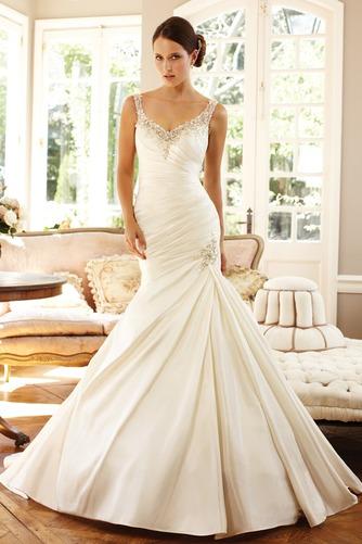 Vestido de novia Corte Sirena Sin mangas Formal Cremallera largo Escote en V - Página 1