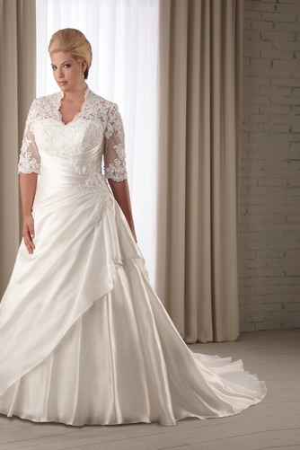 Vestido de novia Corte-A Cola Capilla Satén Abalorio Queen Anne Natural - Página 1