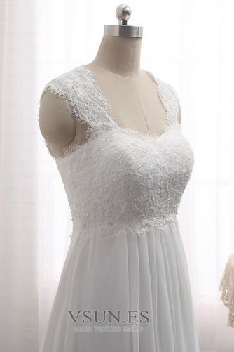 Vestido de novia Encaje Escote Cuadrado Gasa Sin mangas Imperio Natural - Página 4