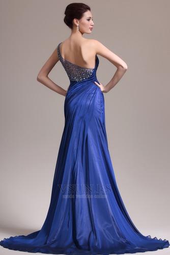 Vestido de noche Sin mangas Elegante azul medianoche Pura espalda Un sólo hombro - Página 6