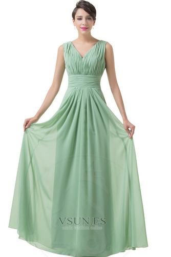 Vestido de dama de honor Corte-A Sencillo Espalda Descubierta Natural Hasta el suelo - Página 3