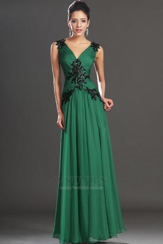 Vestidos de noche verde esmeralda Sin mangas Hasta el suelo Baja Escote en V - Página 1