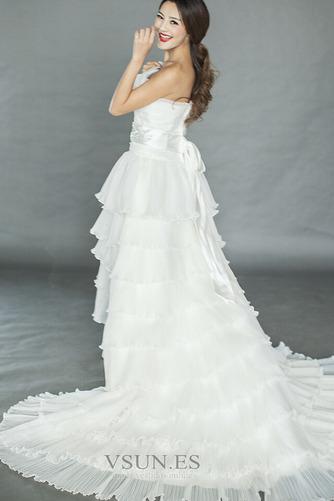 Vestido de novia Asimètrico Organza Drapeado Alto Bajo Sin mangas primavera - Página 2
