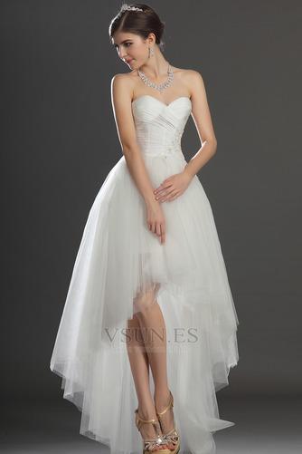 Vestido de novia Escote Corazón Apertura Frontal Asimétrico Dobladillo - Página 1