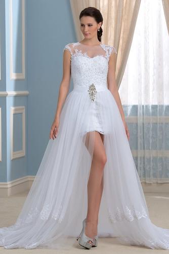 Vestido de novia Capa de encaje Falta Mangas Illusion Frontal Dividida - Página 1