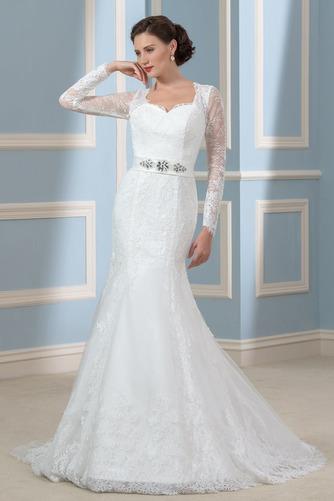 Vestido de novia Corte Recto Otoño Elegante Cordón Queen Anne Volantes Adorno - Página 1