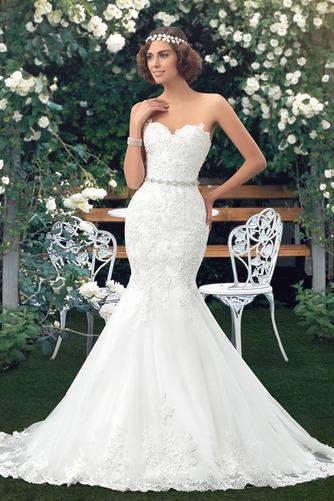 Vestido de novia Corte Sirena Drapeado Fuera de casa Falta Moderno Capa de encaje - Página 3