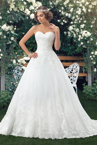 Vestido de novia Botón Escote Corazón Corte-A Encaje Espalda Descubierta - Página 1