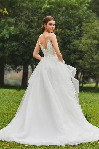 Vestido de novia Escote de Tirantes Espaguetis Natural tul Cola Capilla - Página 4