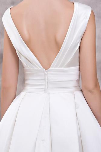 Vestido de novia Elegante Escote en V Dobladillos Corte-A largo Satén - Página 5