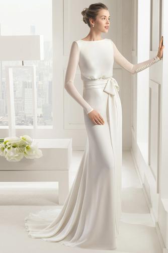 Vestido de novia Corte Sirena Cola Barriba Elegante Drapeado Camiseta - Página 4
