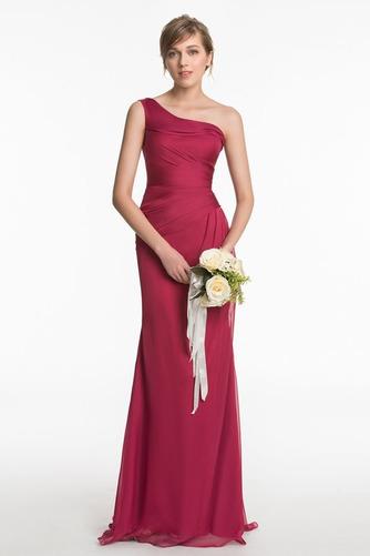 Vestido de dama de honor Un sólo hombro Elegante Plisado Corte Recto Gasa Natural - Página 1
