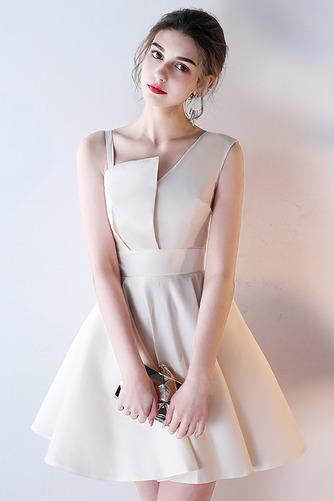 Vestido de dama de honor Corte-A Escote Asimètrico Corto Falta Sin mangas Natural - Página 2