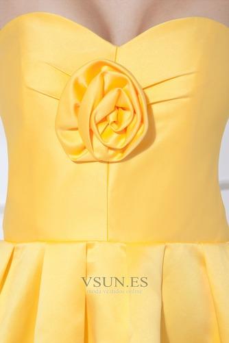 Vestido de dama de honor Corto Natural Falta Corte-A Satén Flores - Página 5