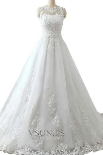 Vestido de novia Alto cubierto Joya Corte-A Cinturón de cuentas Apliques - Página 3