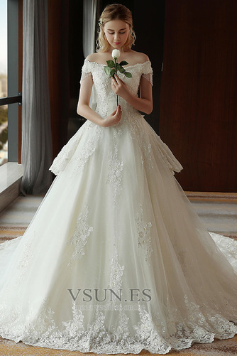 Vestido de novia Satén Escote con Hombros caídos Sala primavera Manga corta - Página 1