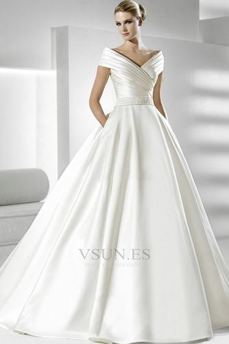 Vestido de novia Volantes Adorno Satén Iglesia Natural Tallas pequeñas - Página 1