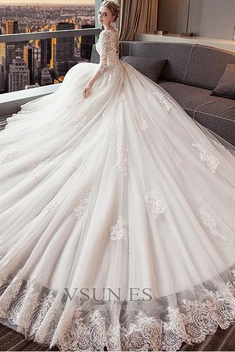 Vestido de novia Espalda Descubierta Cola Real Corte-A Capa de encaje - Página 3