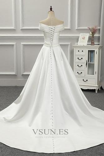 Vestido de novia Volantes Adorno Satén Iglesia Natural Tallas pequeñas - Página 7