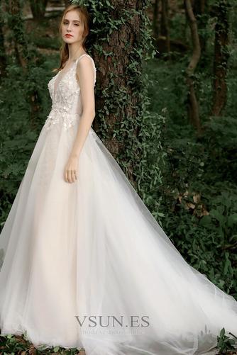 Vestido de novia Corte-A Sin mangas Natural Verano Flores Espalda Descubierta - Página 4
