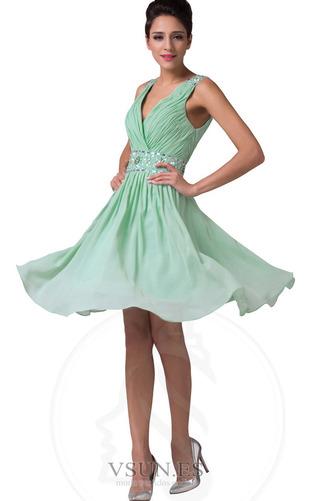 Vestido de graduacion Hasta la Rodilla Corte-A Cristal Cremallera Natural - Página 1
