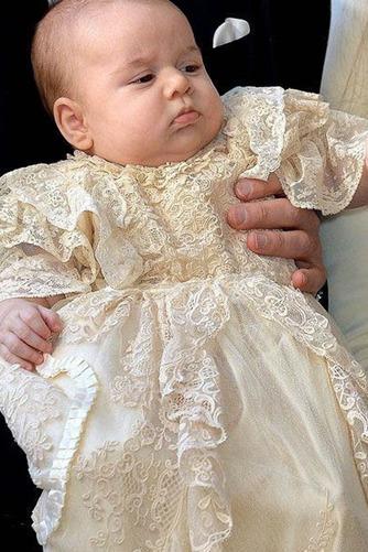 Vestido de Bautizo Otoño Natural Corte princesa Encaje Escote con cuello Alto - Página 2