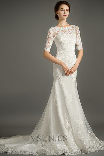 Vestido de novia Encaje Cremallera Triángulo Invertido Sala Corte Sirena - Página 1