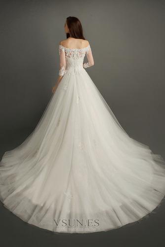 Vestido de novia Encaje Corte-A Escote con Hombros caídos Natural Triángulo Invertido - Página 2