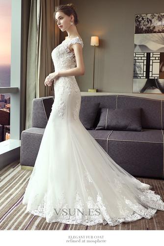 Vestido de novia Corte Sirena Capa de encaje largo Escote con Hombros caídos - Página 5