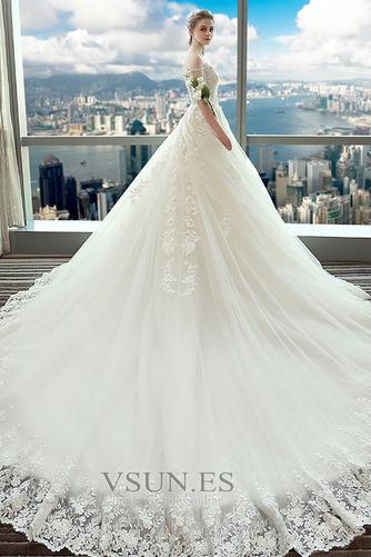 Vestido de novia Espectaculares Manga corta Corte-A Espalda Descubierta - Página 2