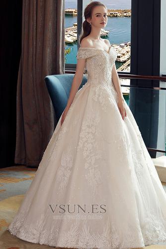Vestido de novia Corpiño Acentuado con Perla Manga corta Triángulo Invertido - Página 3