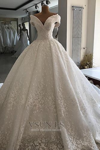Vestido de novia Cordón Drapeado Otoño Reloj de Arena Capa de encaje - Página 1