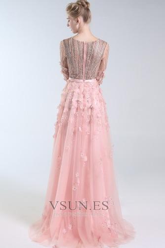 Vestido de fiesta Escote en V Elegante Corpiño Acentuado con Perla Natural - Página 2