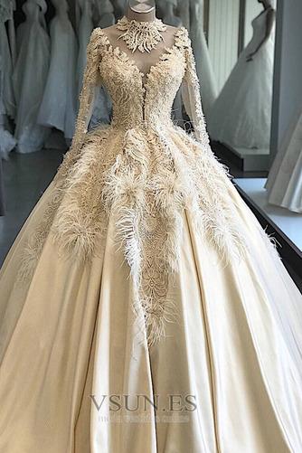 Vestido de novia Pura espalda Mangas Illusion Pera Escote con cuello Alto - Página 1