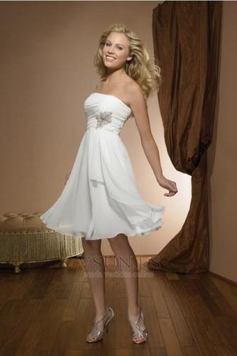 Vestido de novia Sin tirantes Corte-A Rectángulo Verano Gasa Marfil - Página 1
